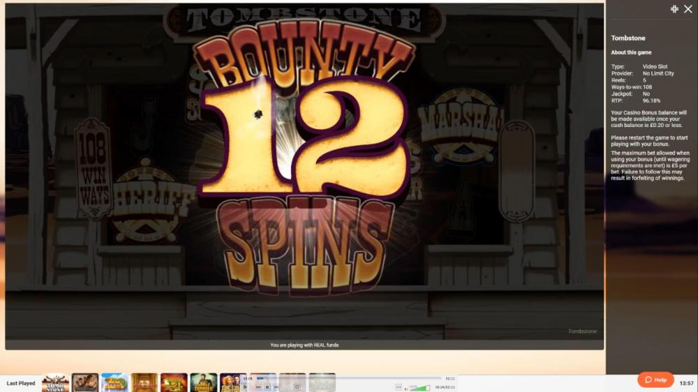 tombstone leovegas bounty spins.JPG