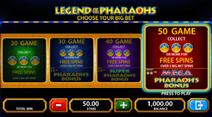 Legend of the Pharaohs big bet option