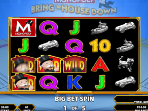 Monopoly Bring The House Down slot symbols sticky wild hotels