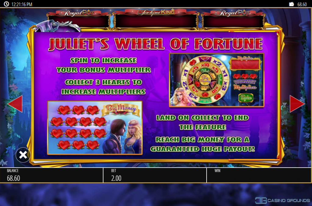 Blueprint - Romeo And Juliet - Rules Bonus Juliet Wheel of Fortune wheel - Casinogroundsdotcom
