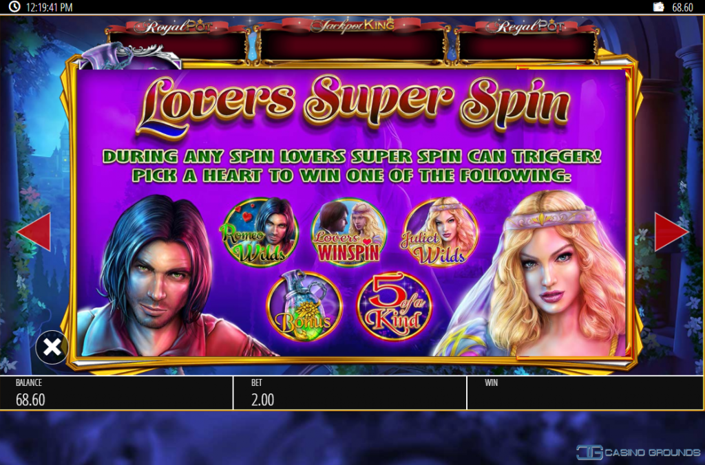 Blueprint - Romeo And Juliet - Rules - Lovers Super Spin - Casinogroundsdotcom