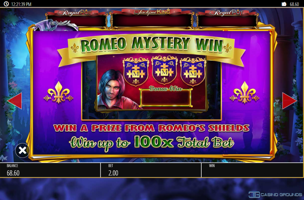Blueprint - Romeo And Juliet - Rules - Romeo Mystery Spin- Casinogroundsdotcom