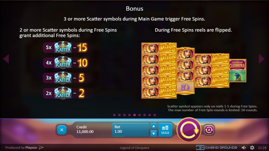 Playson - Legend of Cleopatra - Feature- Bonus Game - casinogroundsdotcom