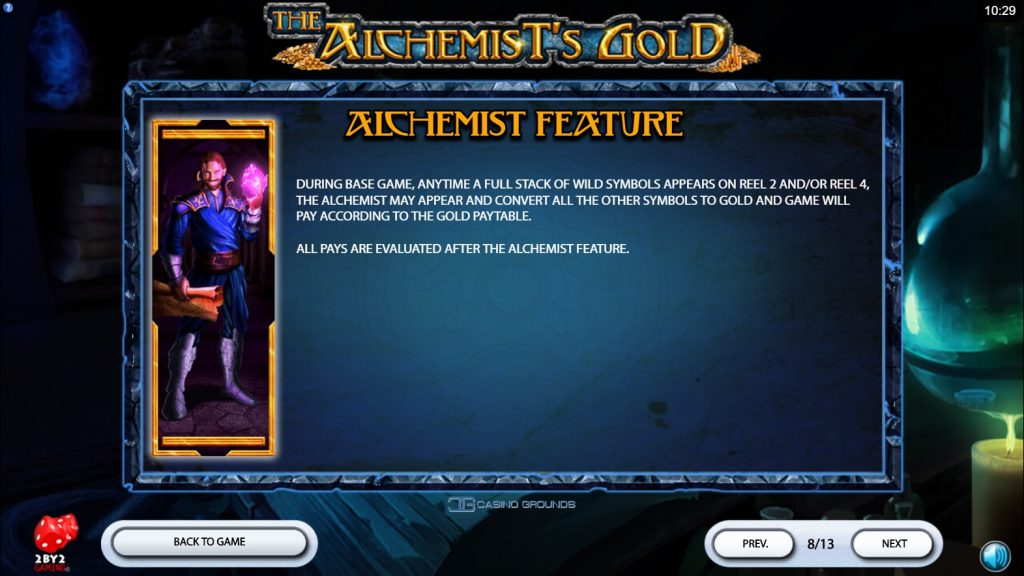 2by2 - The Alchemist's Gold - Rules - Alchemist Feature - casinogroundsdotcom