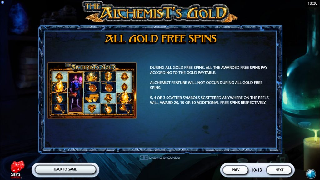 2by2 - The Alchemist's Gold - Rules - Free-spin all gold - casinogroundsdotcom