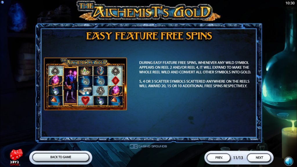 2by2 - The Alchemist's Gold - Rules - Free-spin easy - casinogroundsdotcom