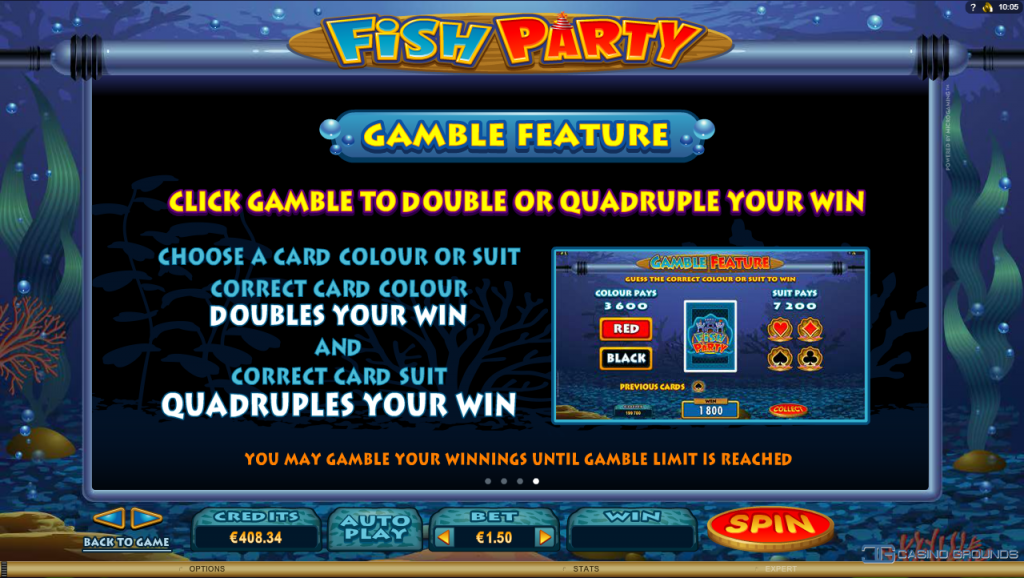 Microgaming - Fish Party - Rules Gamble feature - casinogroundsdotcom
