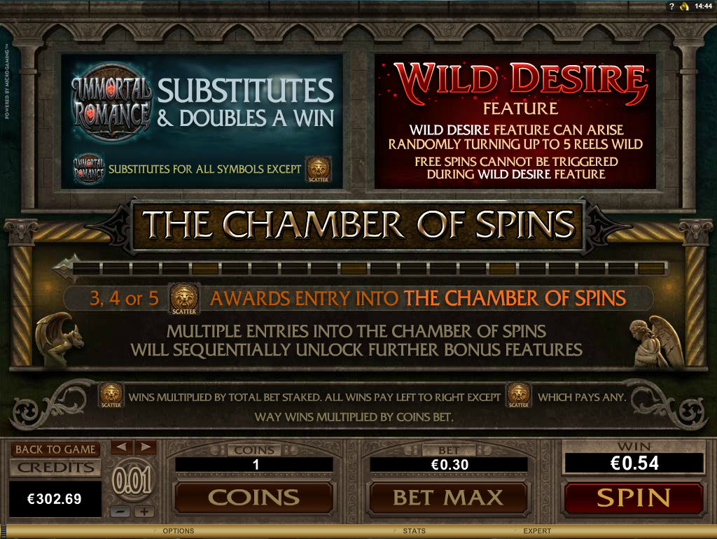 Microgaming - Immortal Romance - Rules wilds scatters chamber of spins - casinogroundsdotcom