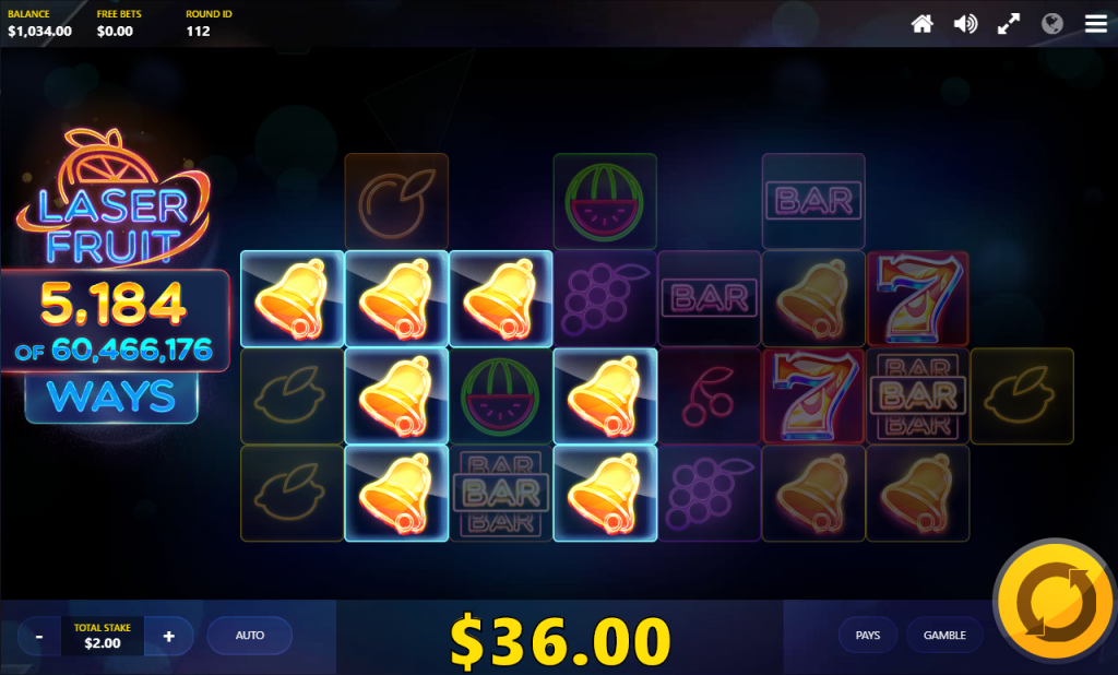Red Tiger - Laser Fruit - Expanding reels spin 2- casinogroundsdotcom