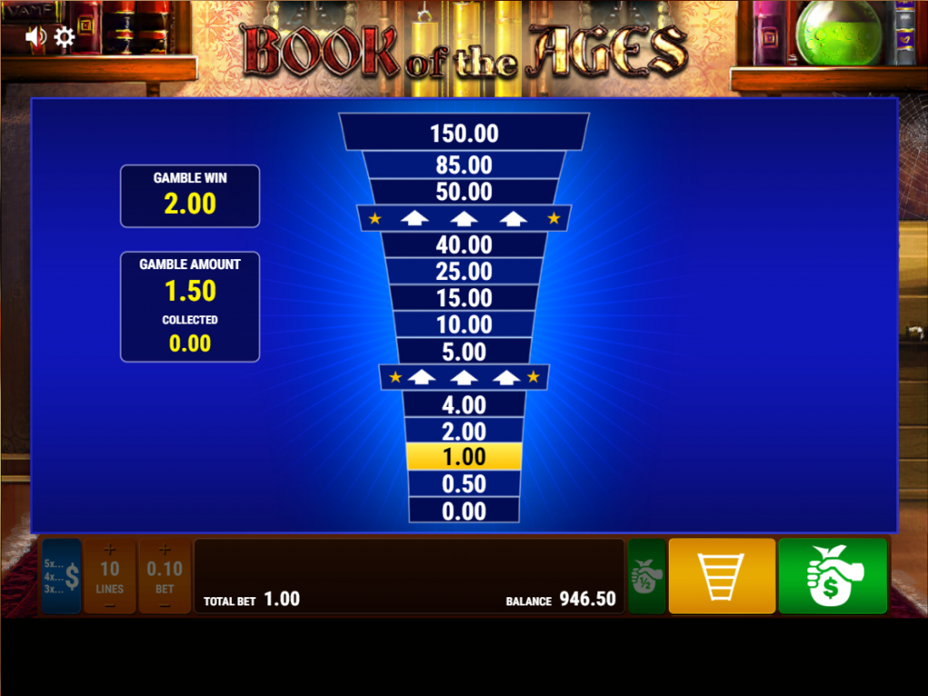 Gamomat - Book of the ages - Gamble ladder - casinogroundsdotcom