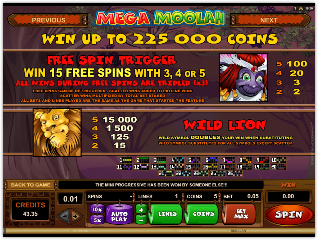 Microgaming - Mega Moolah - rules - free spins casinogroundsdotcom