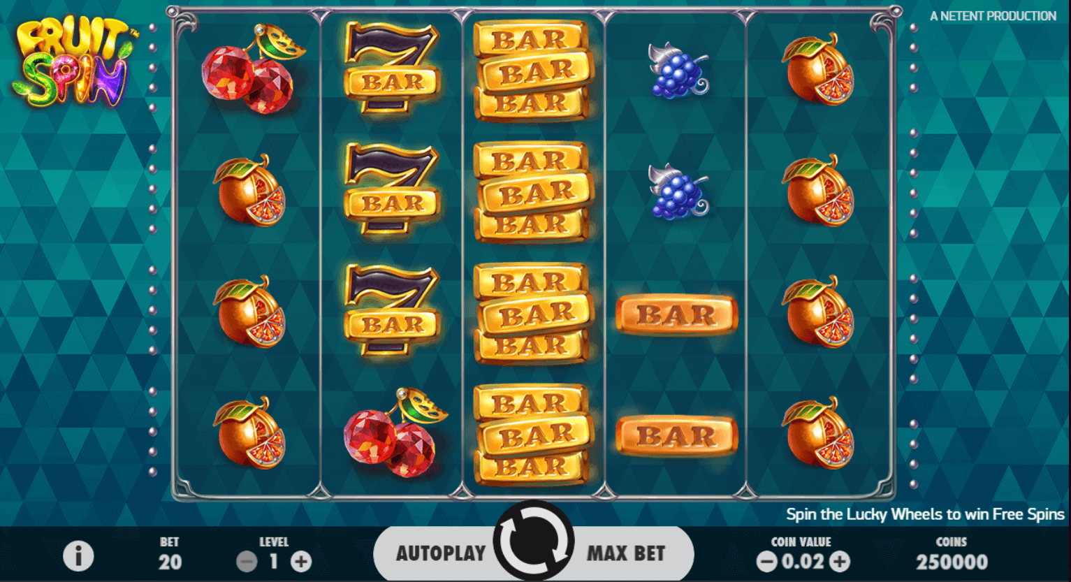 netent - fruit spin - reels - casinogroundsdotcom