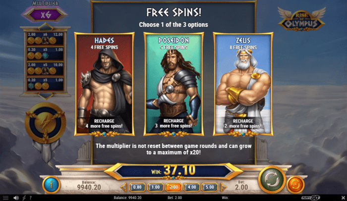 Play'N Go - Rise of Olympus - Free Spins Picker - casinogroundsdotcom