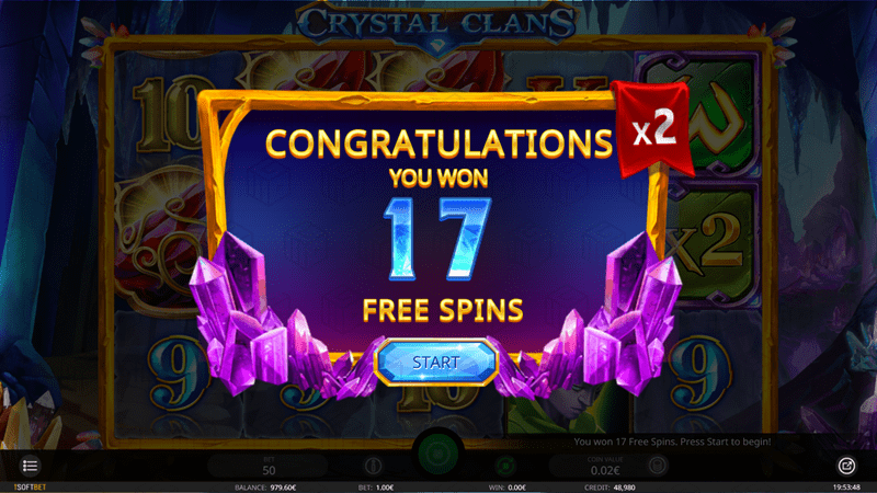 isoftbet - crystal clans - image showing 17 free spins won with 2x multiplier