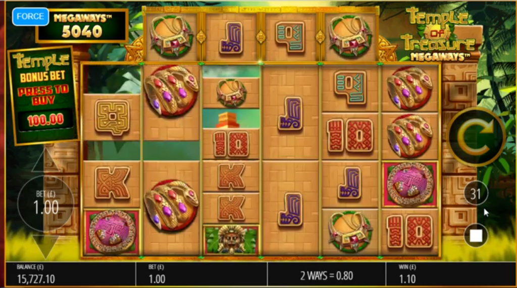 Temple of Treasure Megaways slot cascade - Bluepring Gaming - review