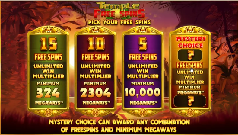 Temple of Treasure Megaways slot free spins - Bluepring Gaming - review