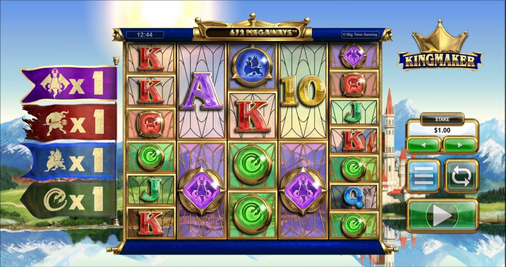Screenshot of the base game in the Kingsmaker slot (Big Time Gaming)