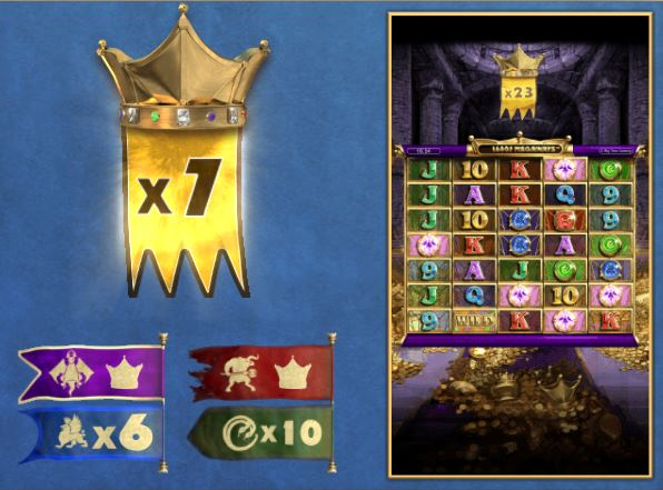 Screenshot of the free spins multiplier increment in the Kingsmaker slot (Big Time Gaming)