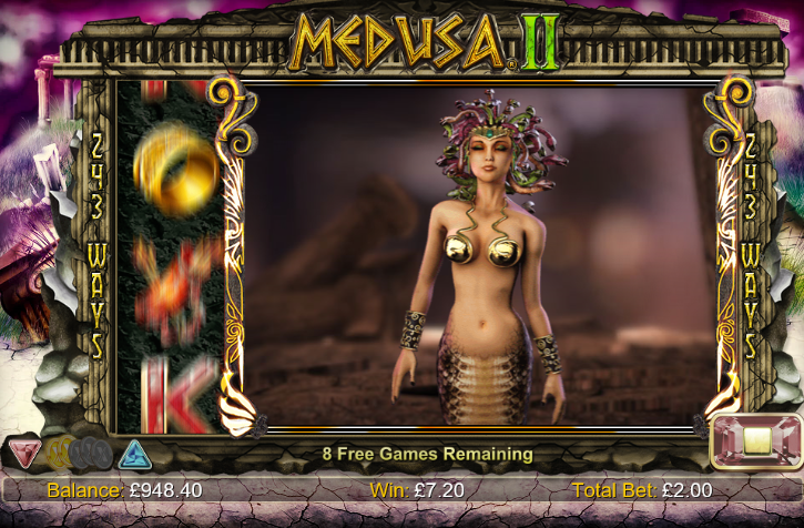 Screenshot of the free spins feature of the Medusa 2 slot (NextGen Gaming)