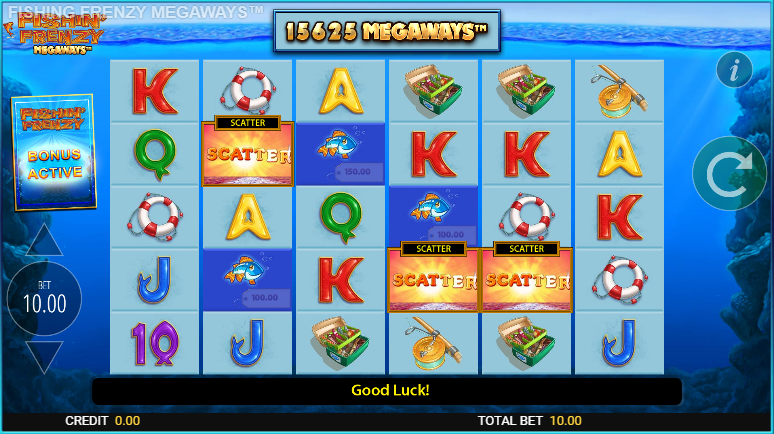 Screenshot of the free spins in the fishing frenzy megaways slot