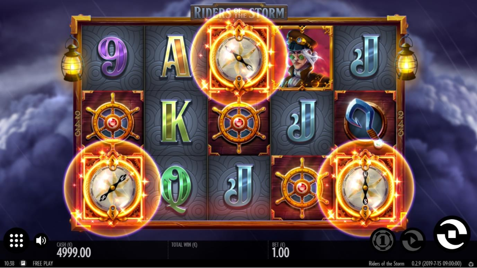 Screenshot showing the design and symbols of the Riders of the storm slot by Thunderkick