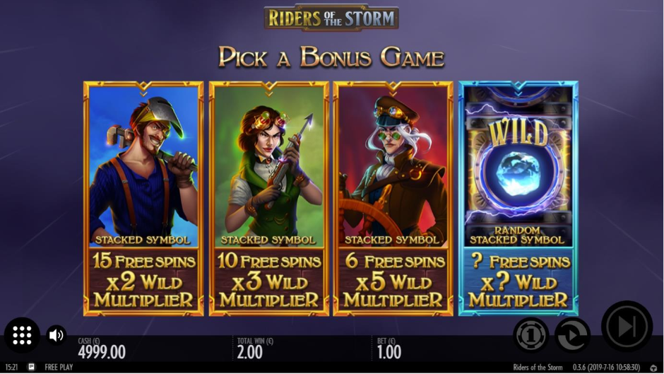 Screenshot showing the free spins feature in the Riders of the storm slot by Thunderkick